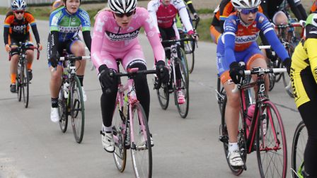Young Norfolk Sports Academy cyclist Isla Rush competing at Zwevezele in Belgium in March 2015.