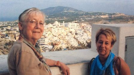 Tracey Blazey (right) with her mother Lilian Bradford a few years ago on holiday in Santorini, Greece.