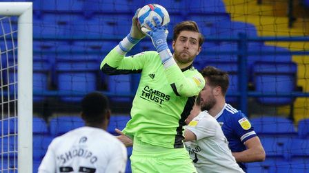 Ipswich keeper Tomas Holy pictured in action against Oxford United.