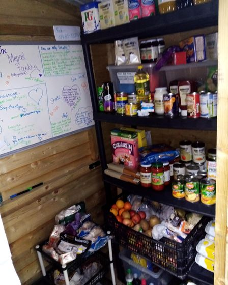Shelves of food at The Mepal Community Food Pantry