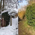 Photos of a footbridge over the River Rat in Stowmarket, taken exactly two weeks apart