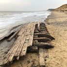 Shipwreck remains on the beach at Covehithe