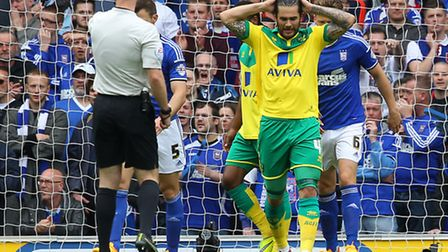 Norwich midfielder Bradley Johnson was unable to add to his 15-goal tally this season against Ipswic