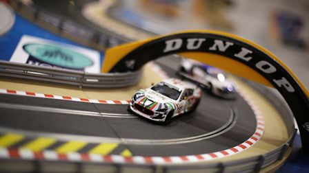 A Scalextric electric car racing set on display at the Hornby Hobbies stand. Photo: Yui Mok/PA Wire