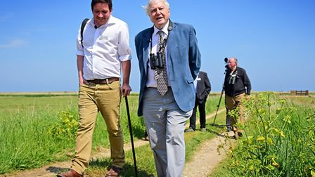 Sir David Attenborough visiting Cley Marshes Visitors Centre to open the Simon Aspinall Wildlife Edu