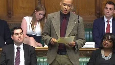 Norwich South MP Clive Lewis delivering his maiden speech