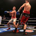 Liam Walsh, left, on his way to victory last time out against Joe Murray. Picture: PA