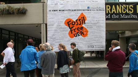 Anti-fossil fuel protesters at the UEA