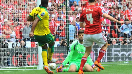 Cameron Jerome punishes Dani Ayala for his 'grotesque' Cruyff turn at Wembley. Picture: SIMON FINLAY