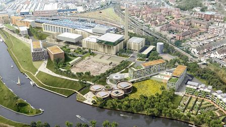 Generation Park. Pictured: Aerial view from south east Norwich. Picture: Grimshaw Architects