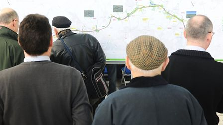 Members of the public study plans for the NDR, which has been given the go-ahead. Picture: Denise Br