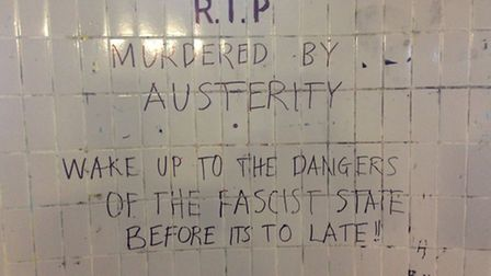 A message left in the St Stephen's Street underpass near to where the body was found.