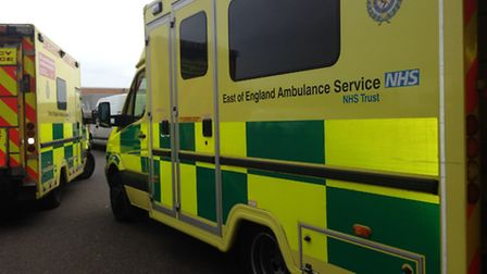 Ambulances at the Norfolk and Norwich University Hospital. Picture: SABAH MEDDINGS