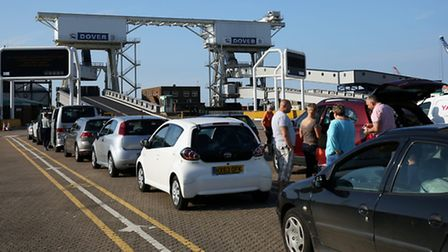 Cars queue to board a ferry in Dover bound for Dunkirk, France. Photo: Philip Toscano/PA Wire