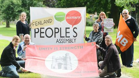 Campaigners are heading to London at the weekend for an anti-austerity march. Pictured are (from lef