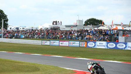 Shane Byrne is home and clear at Snetterton, in front of a bumper crowd.
