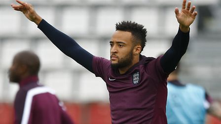 Nathan Redmond warms up during an England training session. Photo: PA/Matthias Schrader