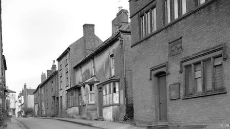 Vicarage Street, North Walsham, before buildings were demolished to make way for the car park. The b