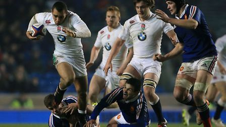 England's Joe Marchant (left) and Will Owen in action against France during the 2015 RBS Six Nations