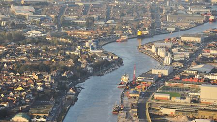 Late afternoon light brings highlights some of Norfolk's sites seen from the air. Great Yarmouth, So