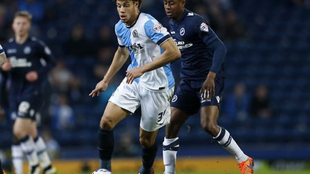 Rudy Gestede in Championship action for Blackburn Rovers last season.