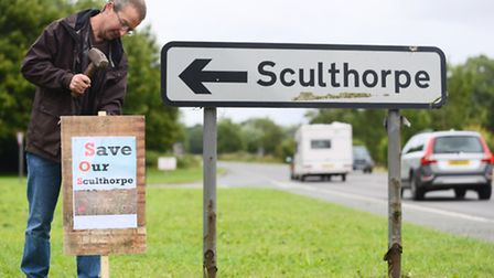 Villagers turned out in force to protest about proposed new housing in Sculthorpe. Pictured is David