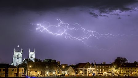 A lightning storm over King's Lynn as viewed from West Lynn. Picture: Matthew Usher.