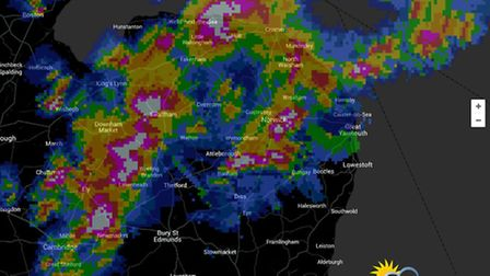 Radar showing the storm over Norfolk. Picture: Weatherquest