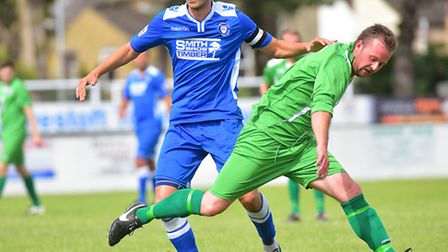 Lowestoft Town, blue, and Gorleston are back in action today. Picture: NICK BUTCHER