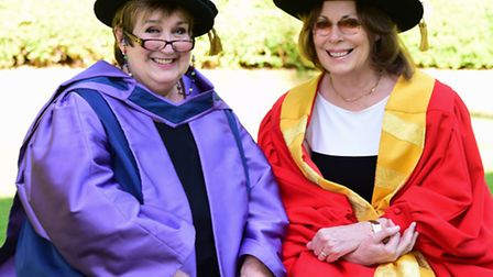 Dame Jenni Murray, left, at the UEA to receive her honorary degree. With her is the chancellor, Rose
