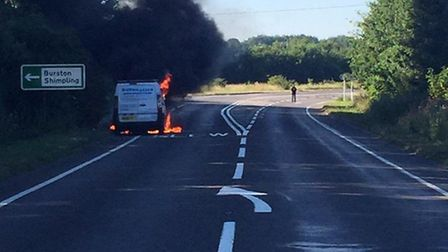 The A140 is closed in both directions at Dickleburgh. Photo: Sgt Joe Simon of Norfolk Constabulary.
