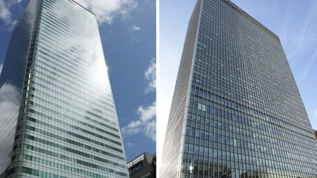 Undated file photos of the headquarters for HSBC (left) and JP Morgan in Carnary Wharf, London, as t