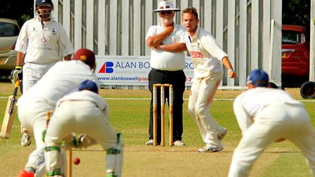 Ryan Findlay bowling during day three against Hertfordshire at Manor Park, taking six wickets in the