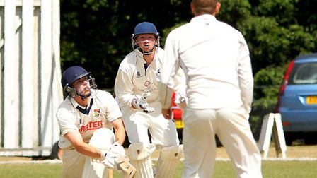 Sam Arthurton,top edges a sweep to be caught behind during day three against Hertfordshire at Manor