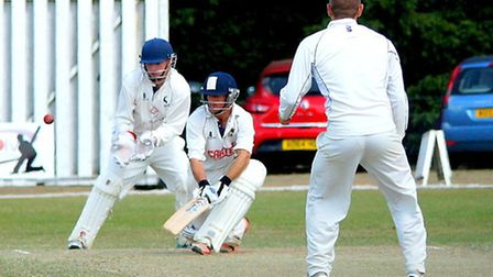 Garry Park reverse sweeping during day three against Hertfordshire at Manor Park. Picture: Tim Ferle