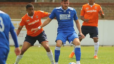 Shaun Bammant in action for Lowestoft Town during a 2-1 friendly defeat to Football League club Luto