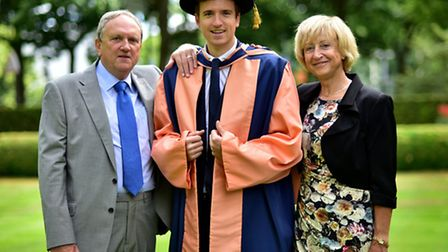 Radio 1 DJ Greg James receives a honorary degree from the UEA. Pictured with his parents Alan and Ro