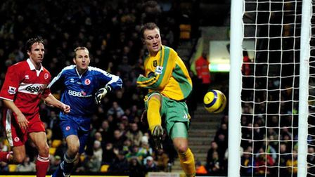 Dean Ashton finding the net in the Premier League for Norwich City during the 2004/05 season. Pictur