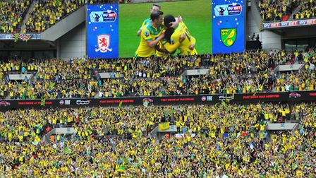 Norwich City fans celebrate Cameron Jerome's goal at Wembley.Picture: Simon Finlay