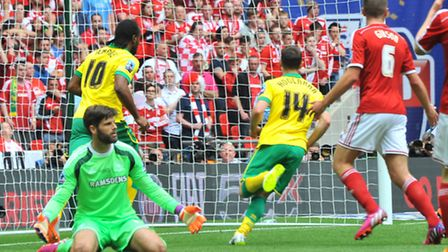 Cameron Jerome opens the scoring at Wembley. Picture: Simon Finlay