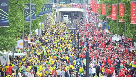 Fans on their way to Wembley. Picture: Simon Finlay