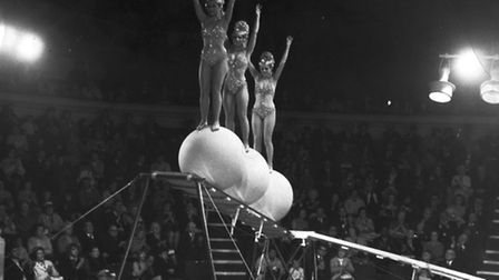 The Three Doors balancing on giant globes at Yarmouth Hippodrome. Date: 1971