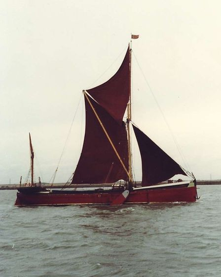 Cabby, the Thames sailing barge. A campaign is being launched to have the ship brought to Wells and make a permanent fixture in the town.