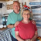 Jon and Laine Ellery in their Sheringham beach hut, Salty Paws, which has been shortlisted in a comp