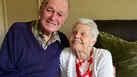 Kenneth and Ivy Booth celebrating their 70th wedding anniversary. Picture: DENISE BRADLEY