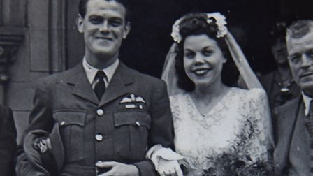 Kenneth and Ivy Booth on their wedding day 70 years ago. Picture: SUBMITTED