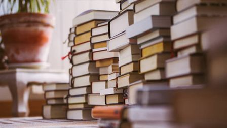 Rows of books are piled up with a plant pot out of focus in the background