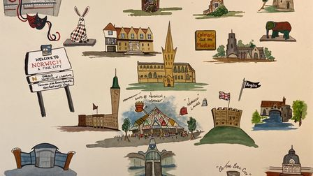 Mr Chinnery's artistic 'map' of Norwich