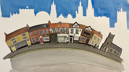 Mr Chinnery's painting of the Norwich skyline