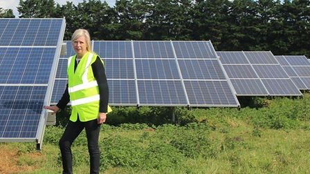 Sarah Broughton at the West Suffolk Council-owned Toggam solar farm in Lakenheath